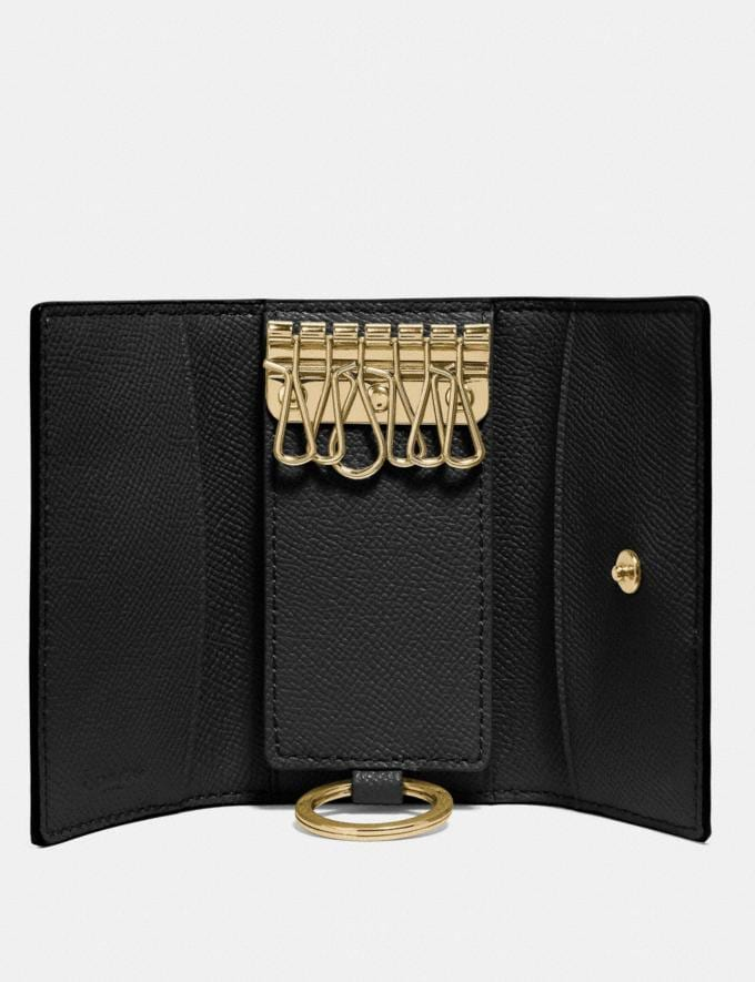Coach Six Ring Key Case Black/Light Gold Women Wallets & Wristlets Small Wallets Alternate View 1