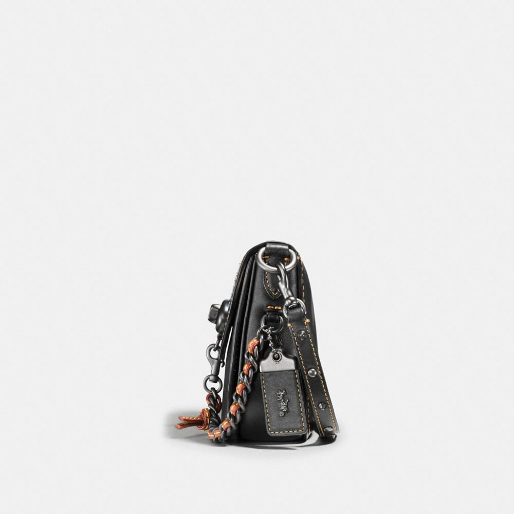 Turnlock Saddle Bag 17 in Glovetanned Leather With Car Embellishment - Alternate View A1