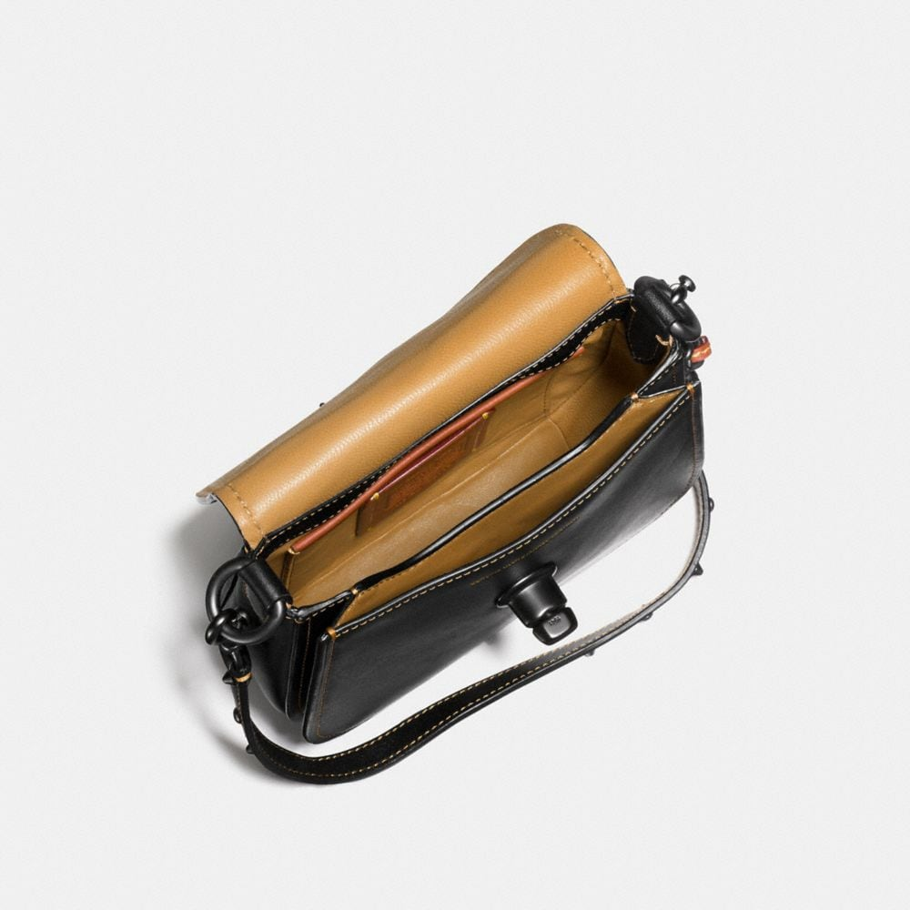 Turnlock Saddle Bag 17 in Glovetanned Leather With Car Embellishment - Alternate View A2