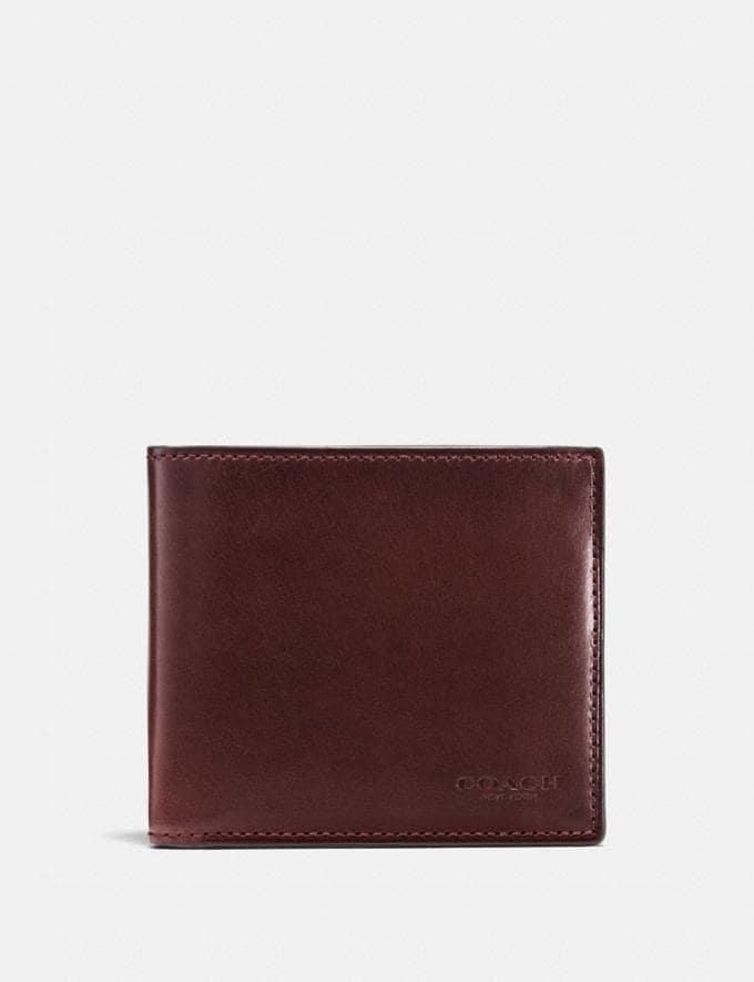 Coach Boxed Double Billfold Wallet Mahogany SALE Men's Sale Wallets