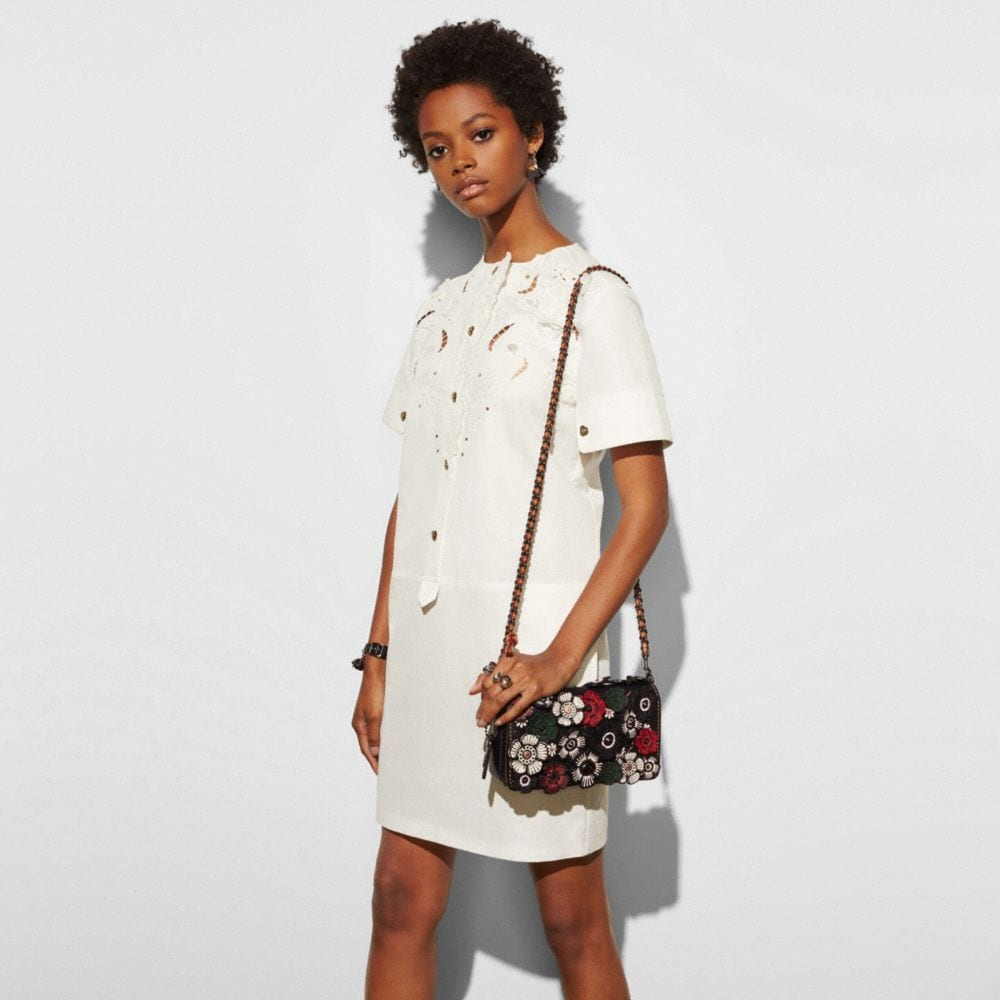 Coach Dinky in Glovetanned Leather With Embellished Tea Rose Alternate View 3