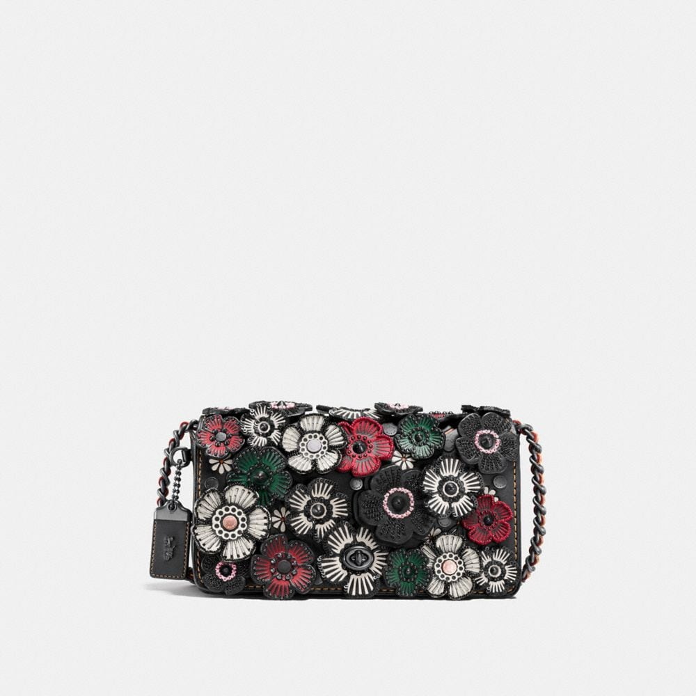 DINKY IN GLOVETANNED LEATHER WITH EMBELLISHED TEA ROSE