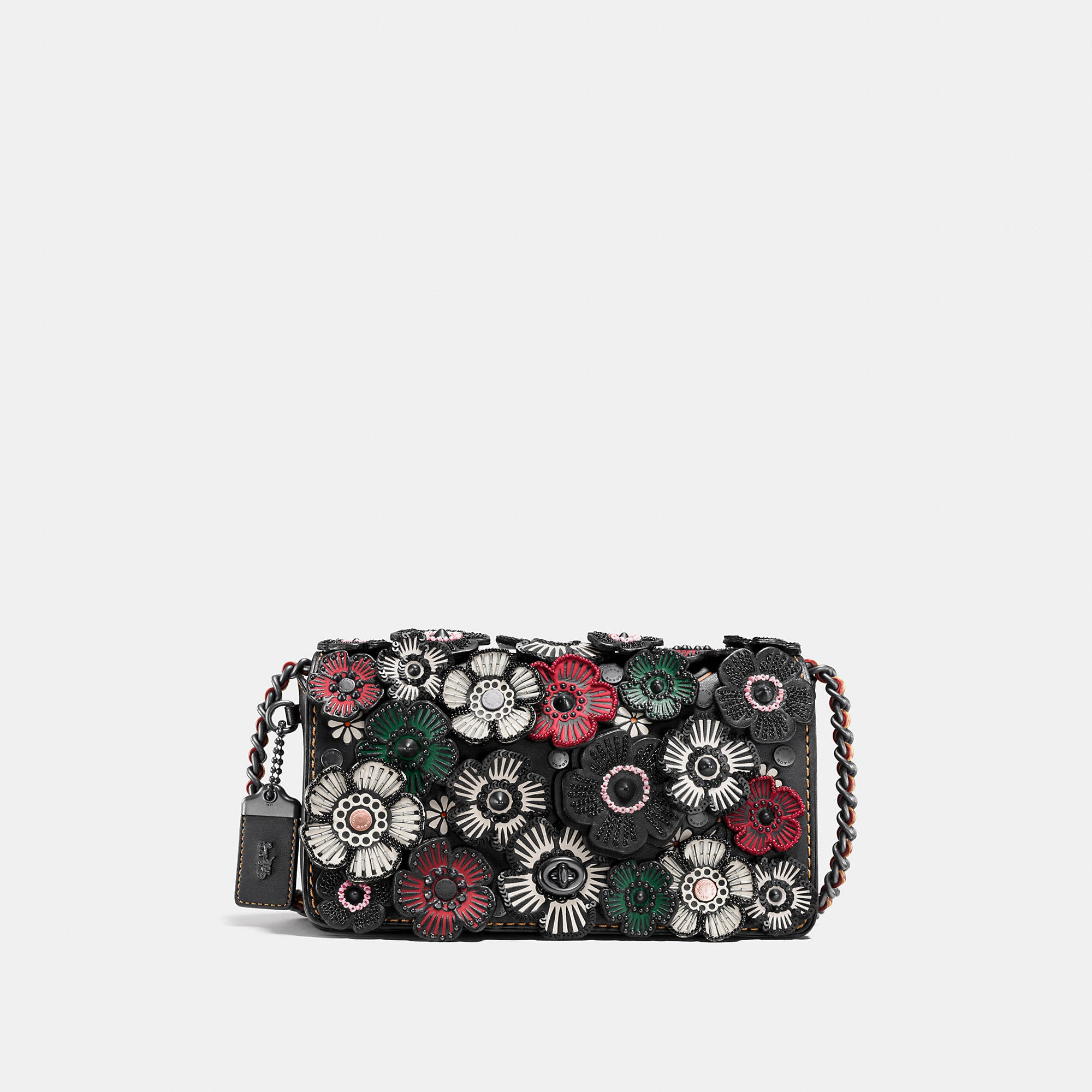 Coach Dinky Crossbody In Glovetanned Leather With Embellished Tea Rose Applique