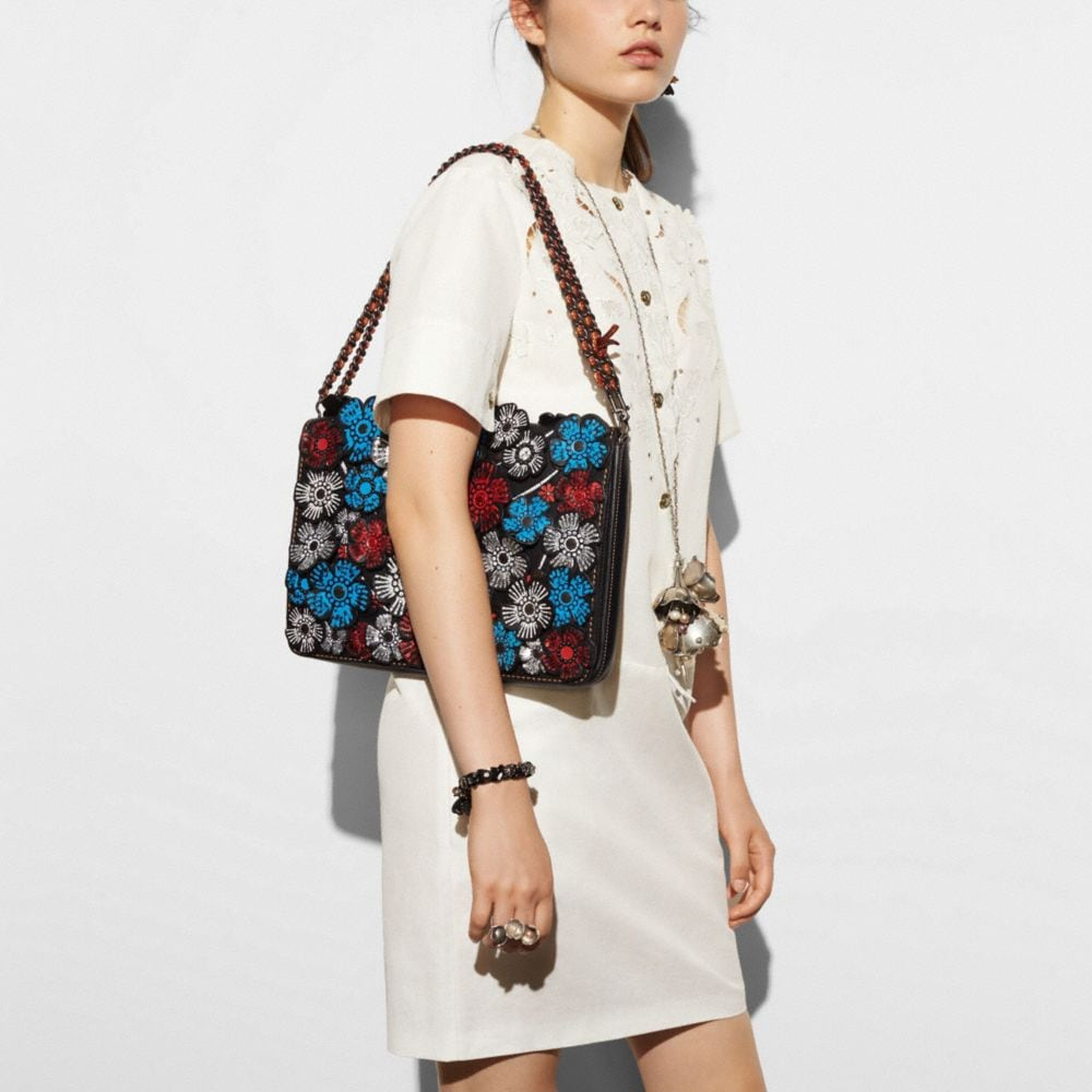 Dinky Crossbody 32 in Glovetanned Leather With Embellished Tea Rose Applique - Alternate View A4