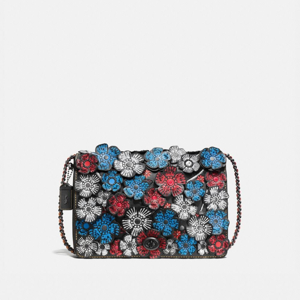 Dinky Crossbody 32 in Glovetanned Leather With Embellished Tea Rose Applique