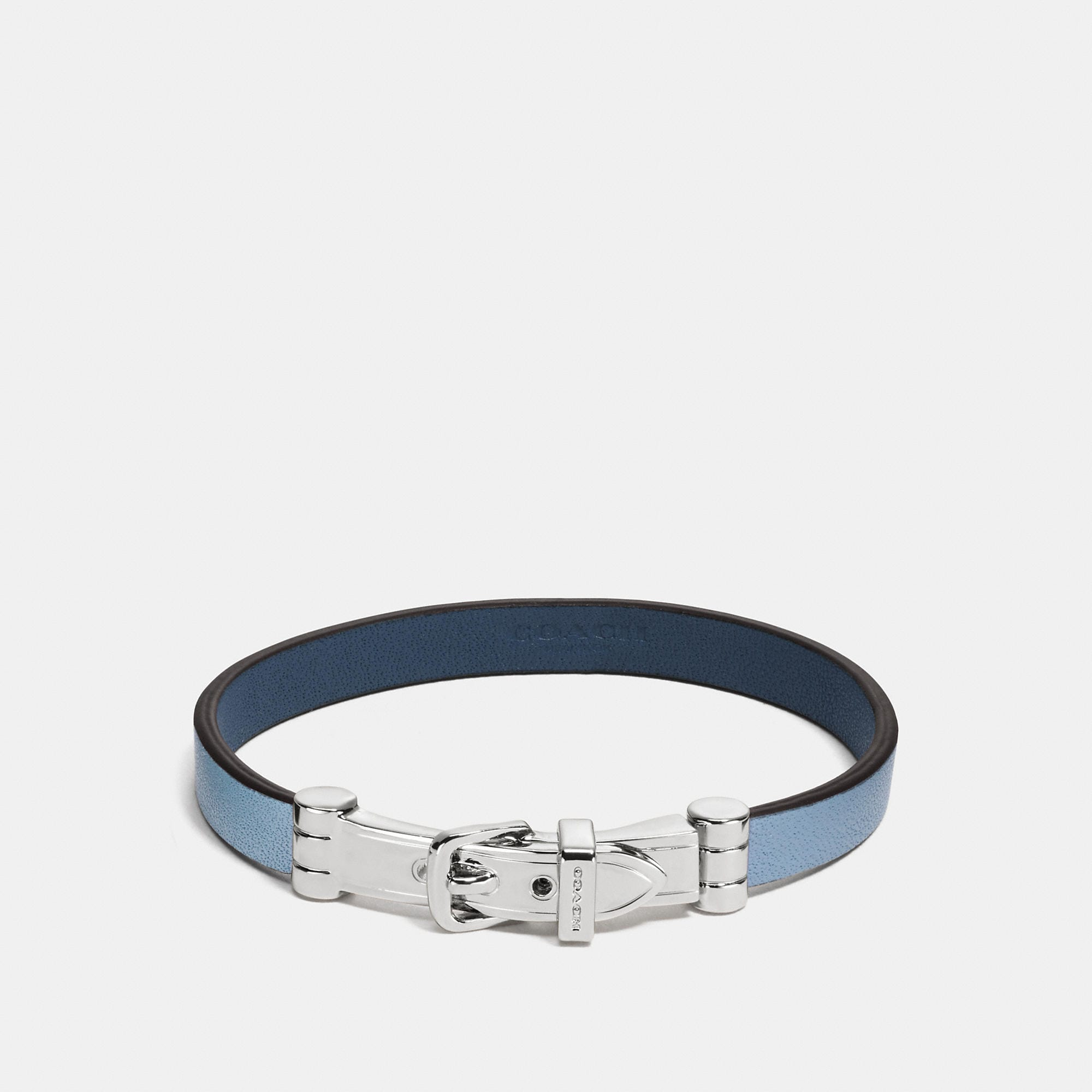 Coach Two Tone Leather Buckle Bracelet