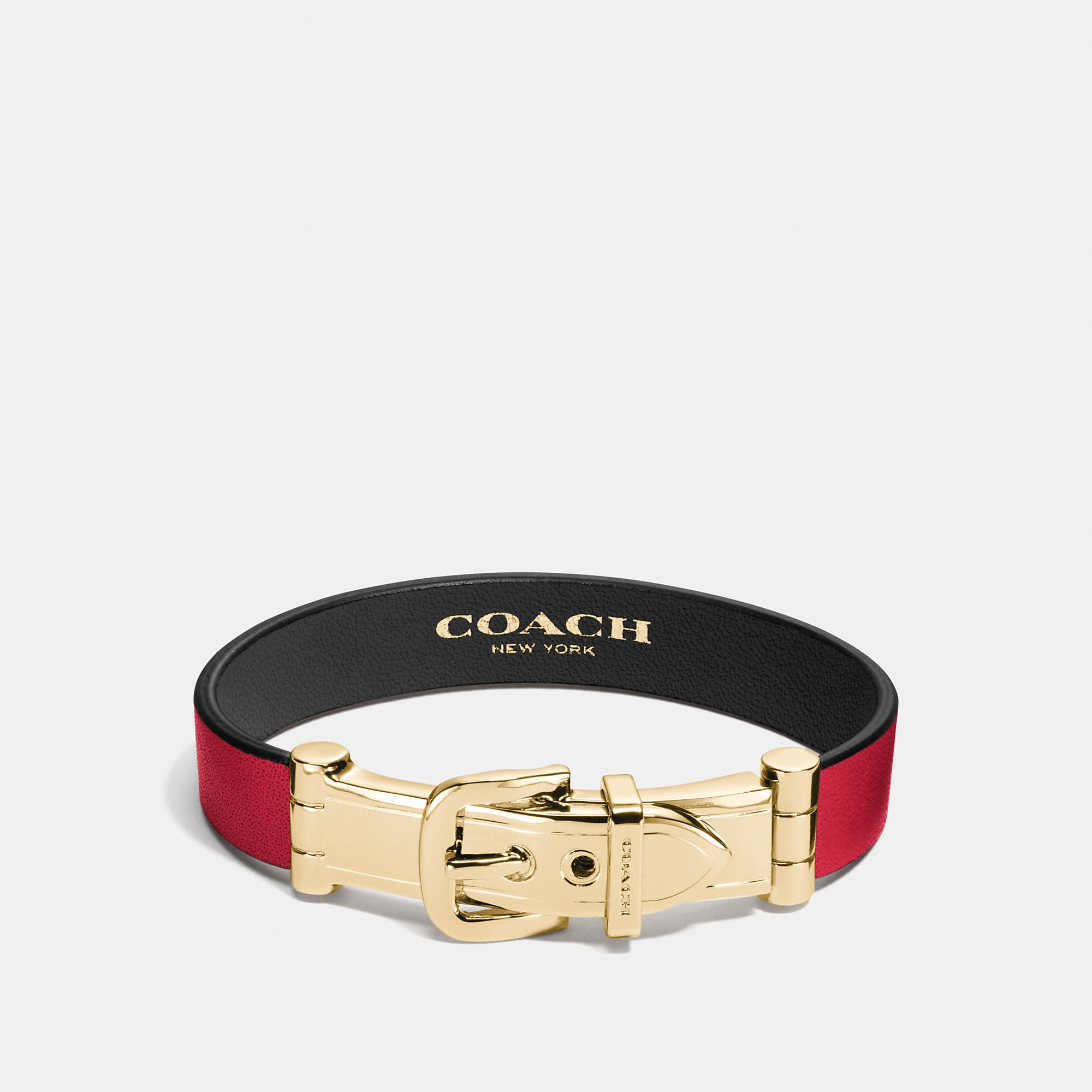 Coach Wide Two Tone Leather Buckle Bracelet