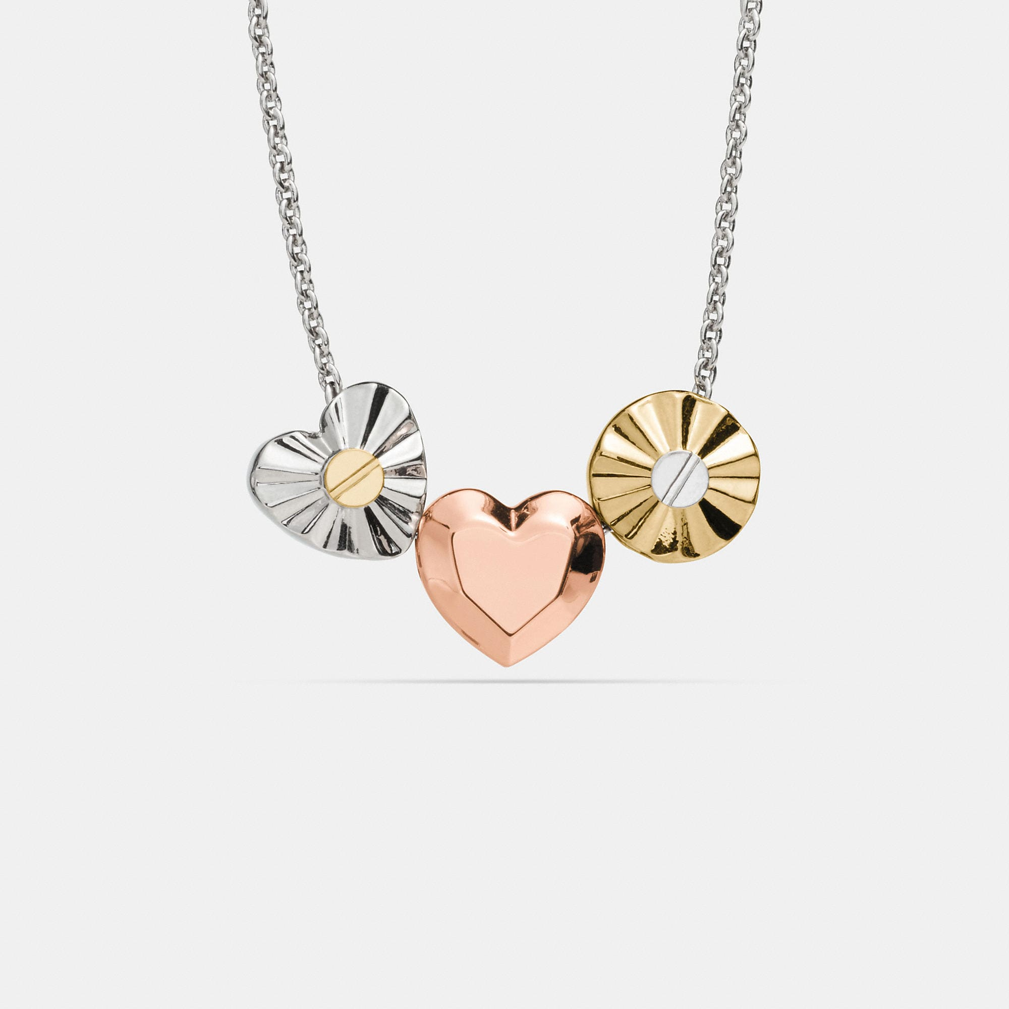 Coach Short Daisy Rivet Heart Locket Necklace