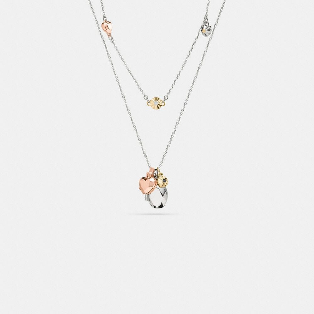 DAISY RIVET HEART LOCKET LAYERED NECKLACE