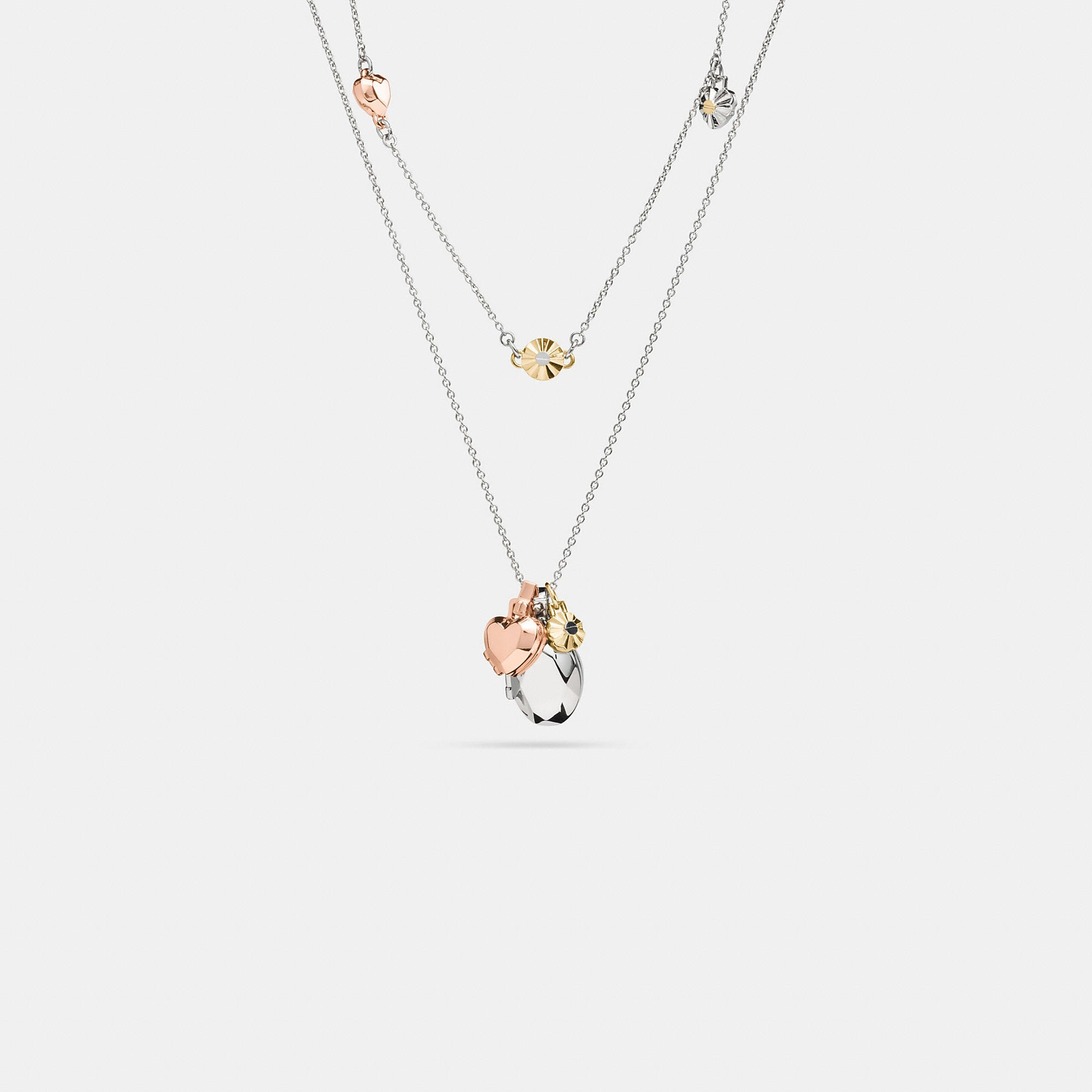 Coach Daisy Rivet Heart Locket Layered Necklace