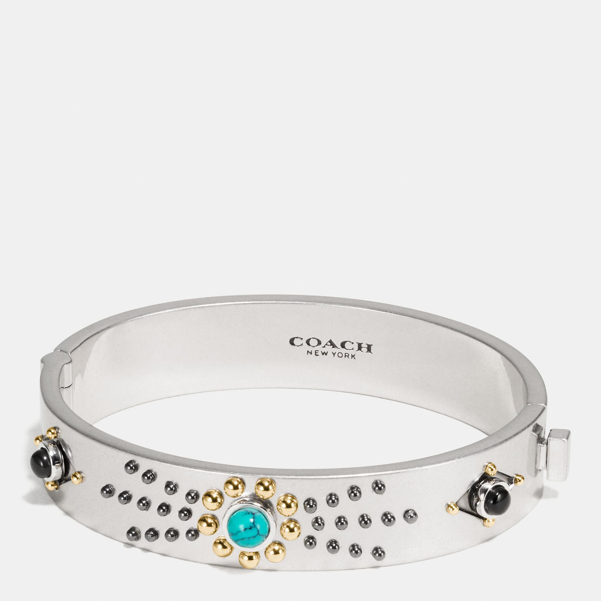 Coach Western Rivets Hinged Bangle