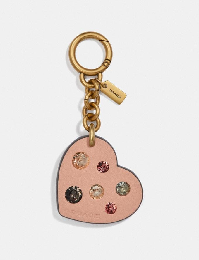 Coach Embellished Heart Bag Charm Nude Pink/Brass Women Accessories Bag Charms