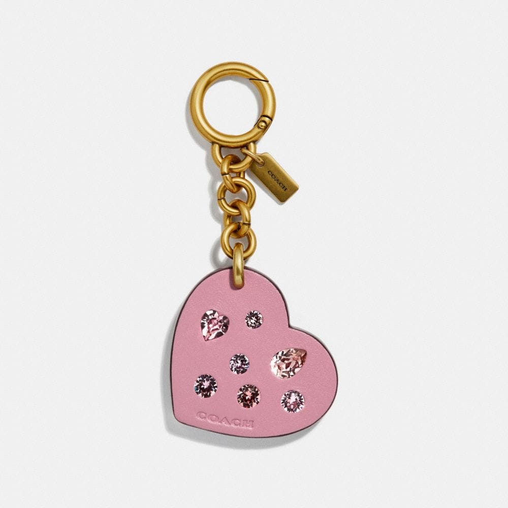 embellished heart bag charm