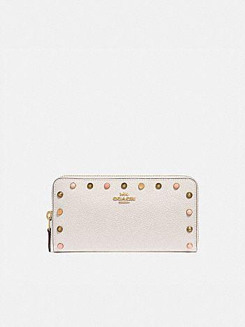accordion zip wallet with rivets