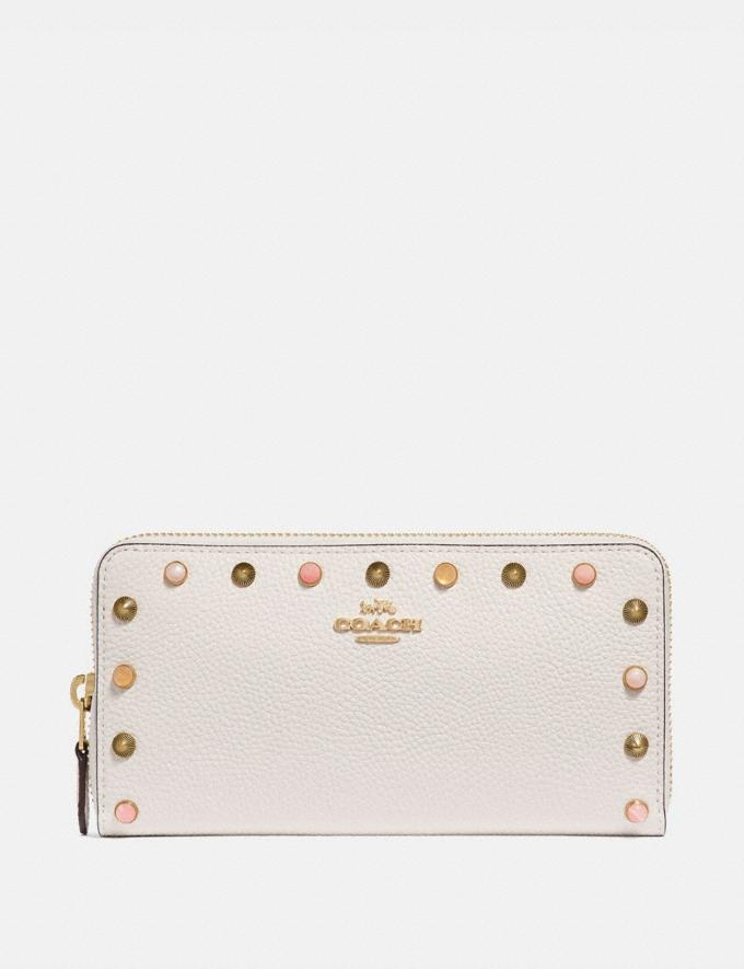 Coach Accordion Zip Wallet With Rivets Chalk/Gold Women Wallets & Wristlets Large Wallets