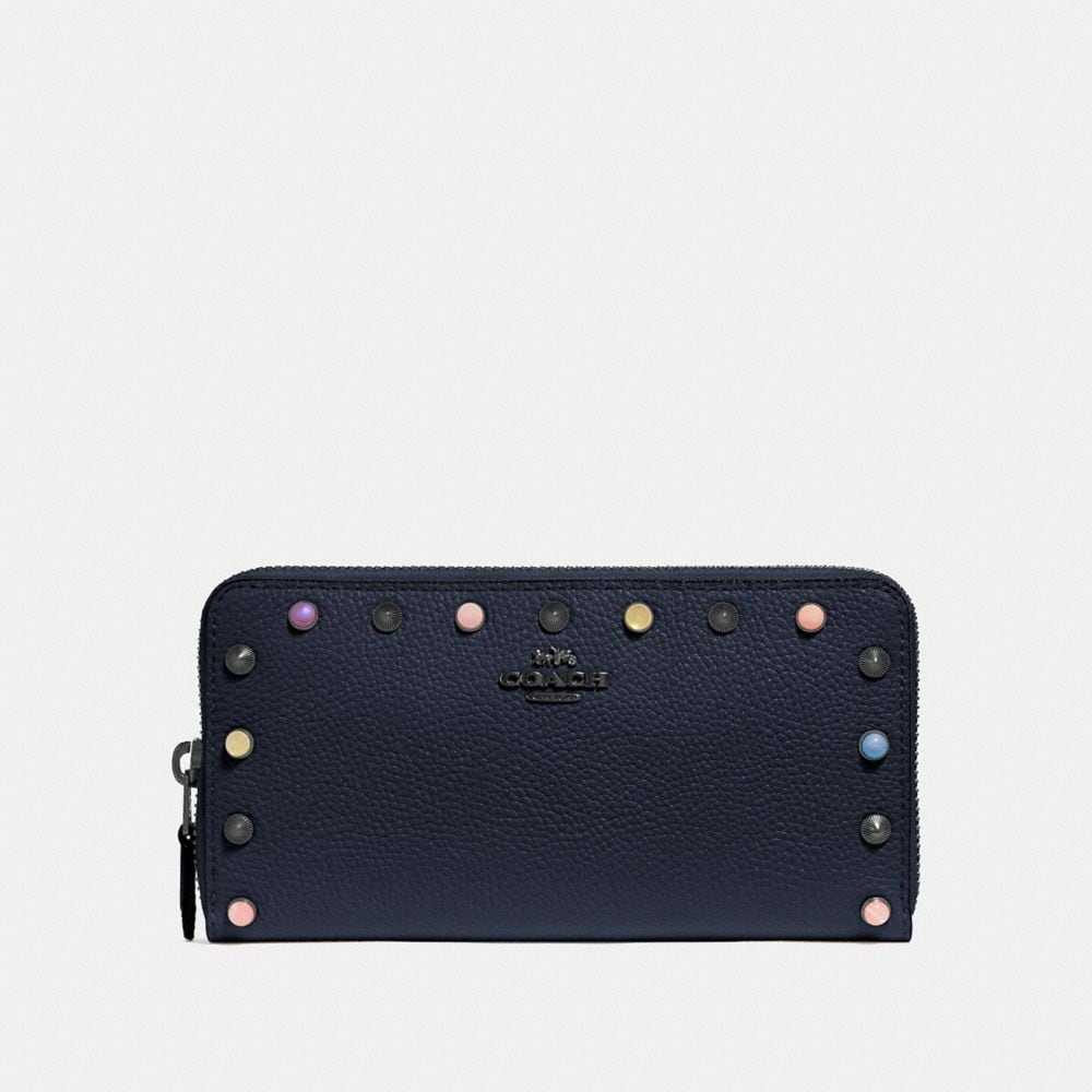 Coach Accordion Zip Wallet With Rivets