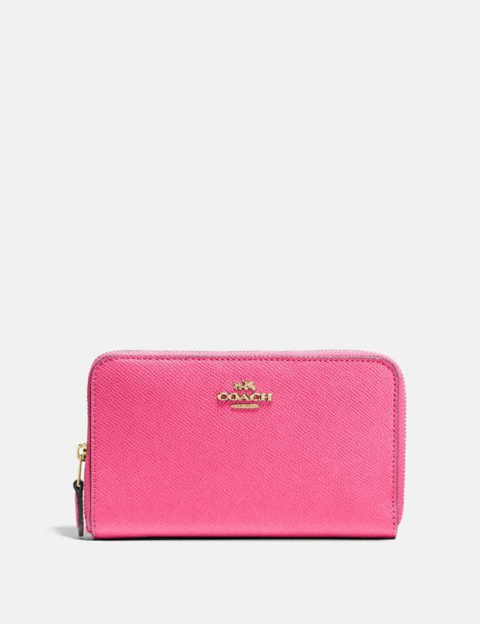 Coach Medium Zip Around Wallet B4/Confetti Pink Women Small Leather Goods Medium Wallets