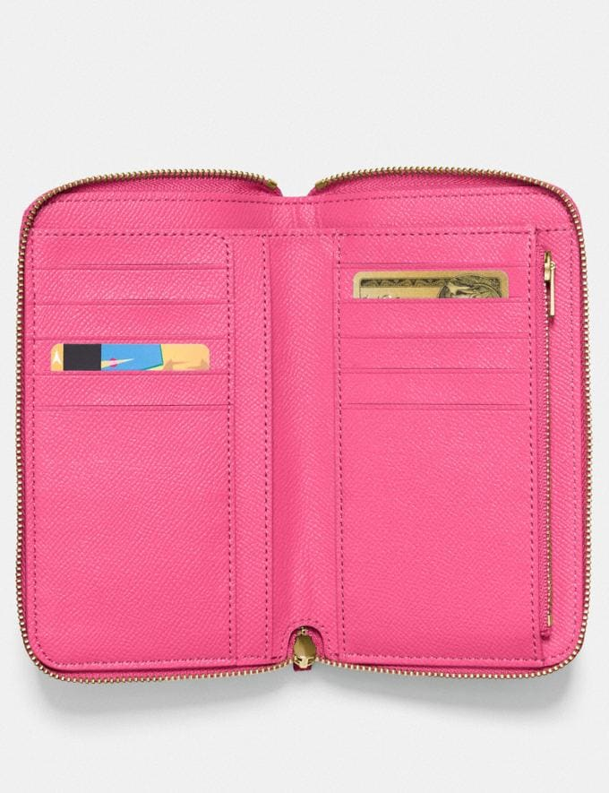 Coach Medium Zip Around Wallet B4/Confetti Pink Women Small Leather Goods Medium Wallets Alternate View 1