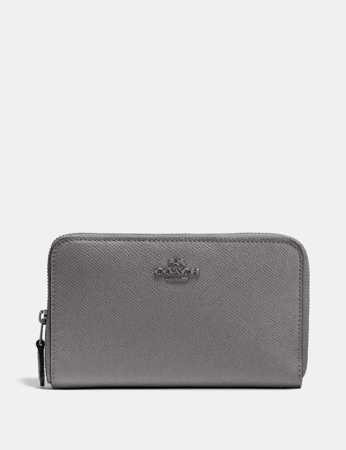 Coach Medium Zip Around Wallet Heather Grey/Dark Gunmetal