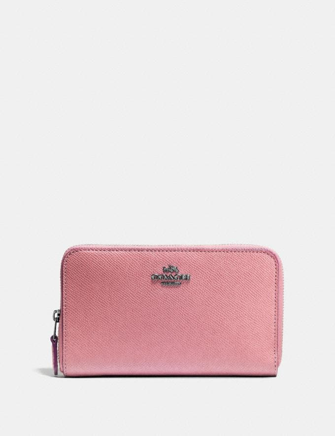 Coach Medium Zip Around Wallet Gunmetal/True Pink Gifts For Her Under $300