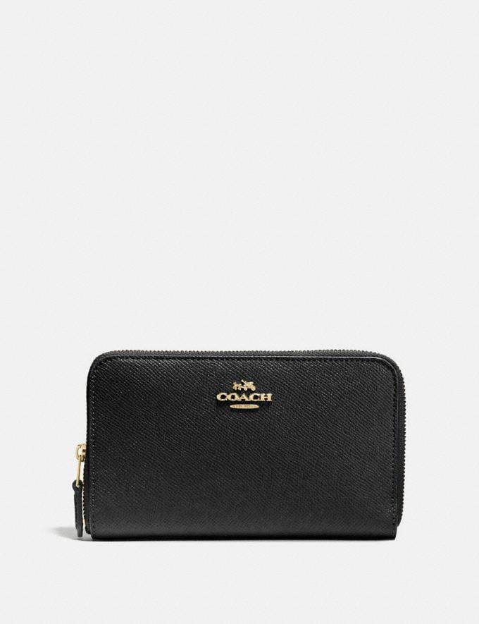 Coach Medium Zip Around Wallet Black/Light Gold Women Small Leather Goods Medium Wallets