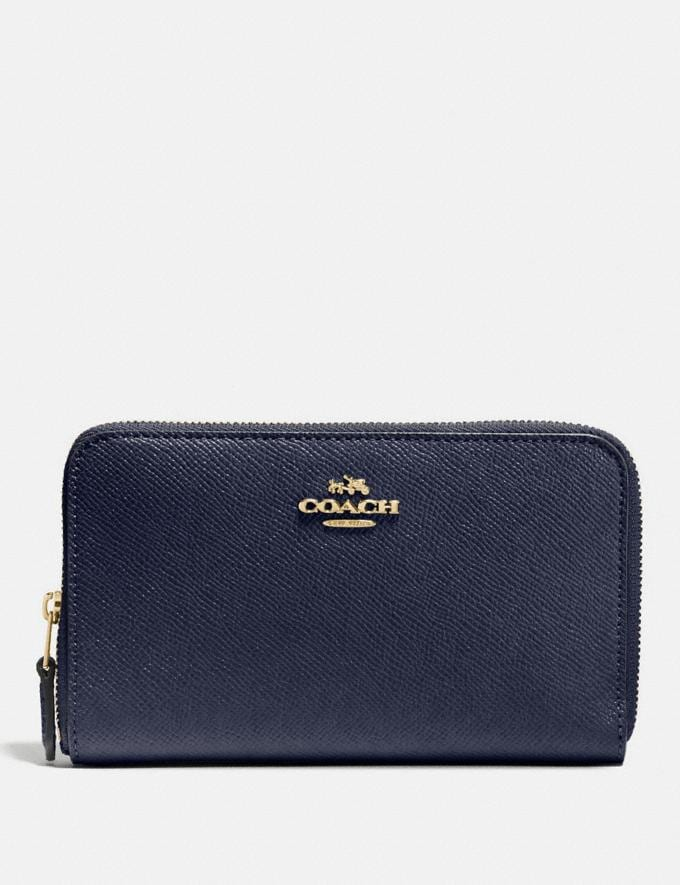 Coach Medium Zip Around Wallet Navy/Light Gold Women Wallet Guide