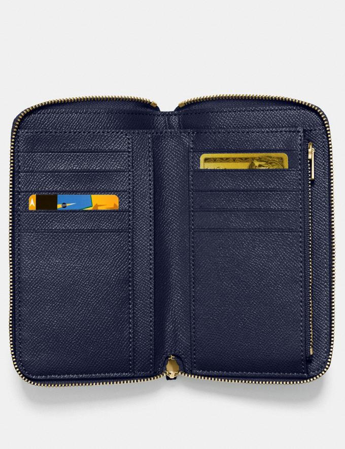 Coach Medium Zip Around Wallet Navy/Light Gold Women Wallet Guide Alternate View 1