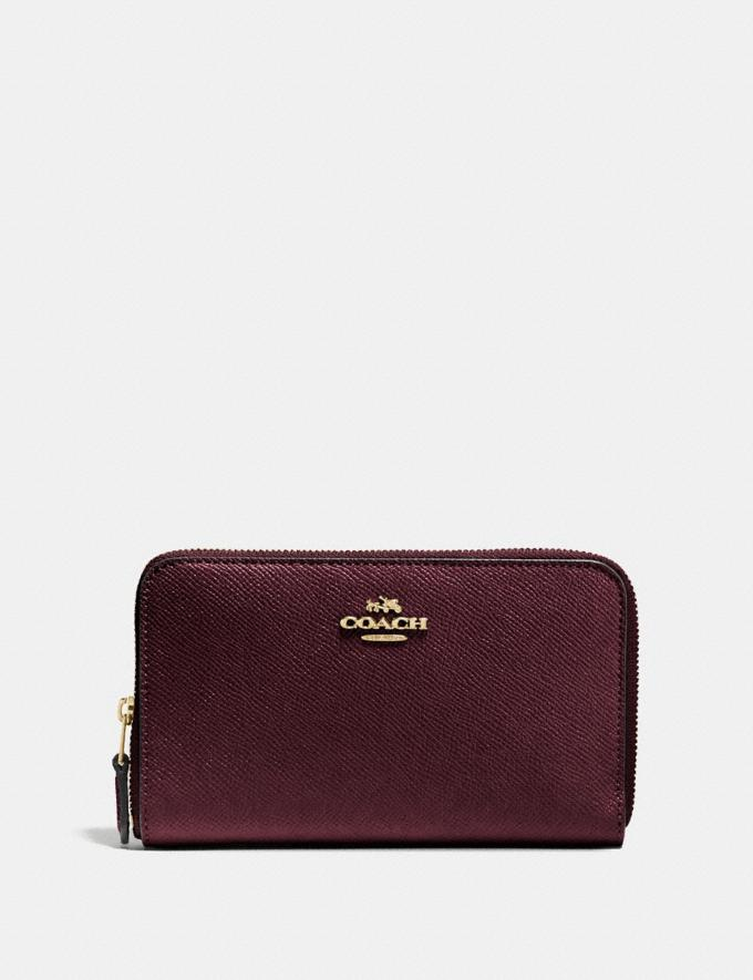 Coach Medium Zip Around Wallet Oxblood/Light Gold Women Accessories