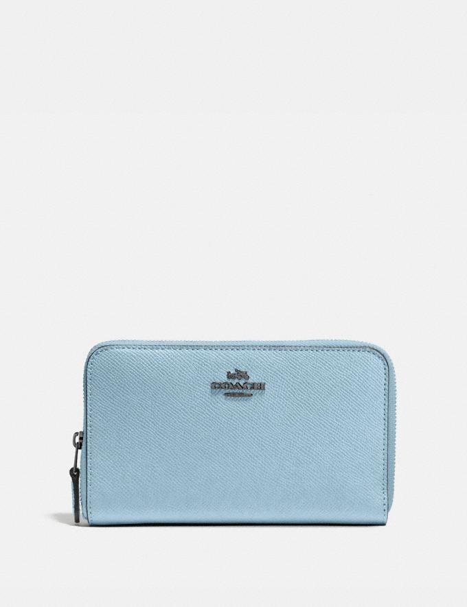 Coach Medium Zip Around Wallet Pewter/Waterfall Women Wallets & Wristlets Large Wallets