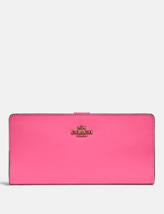 Coach Skinny Wallet Brass/Confetti Pink New Women's New Arrivals Wallets & Wristlets