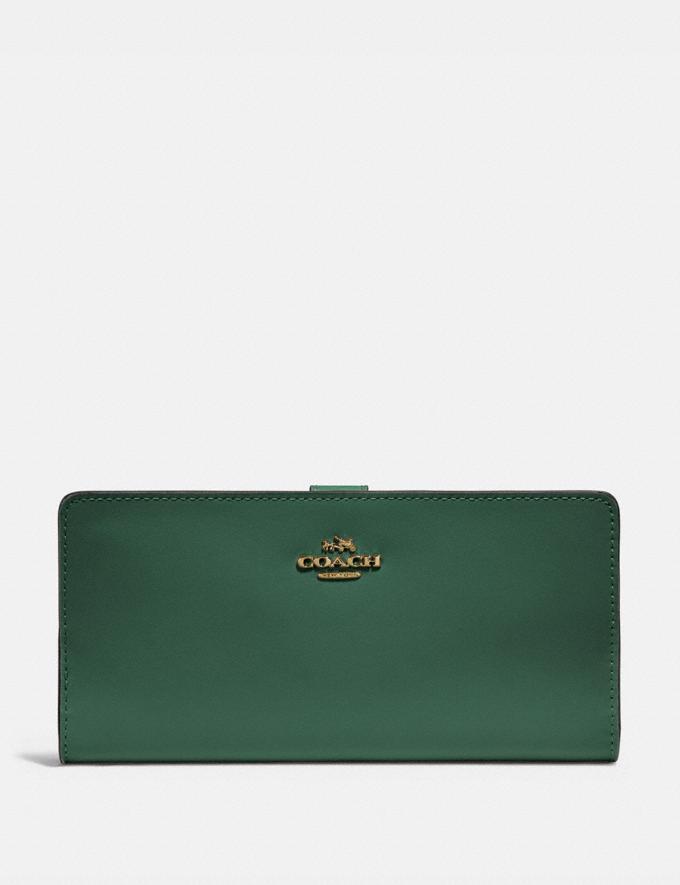 Coach Skinny Wallet Brass/Everglade Women Wallets & Wristlets Large Wallets