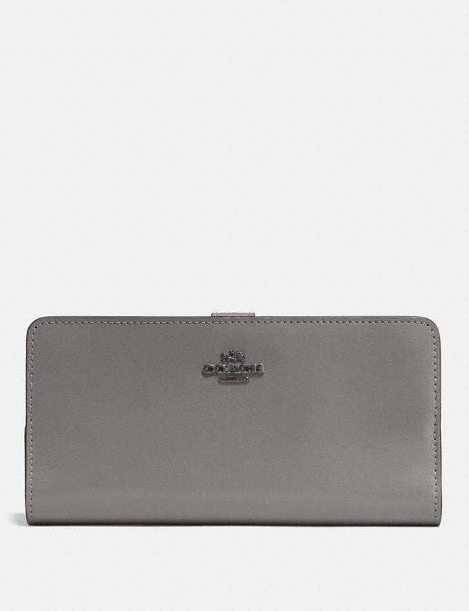 Coach Skinny Wallet Heather Grey/Dark Gunmetal New Featured Women New Top Picks