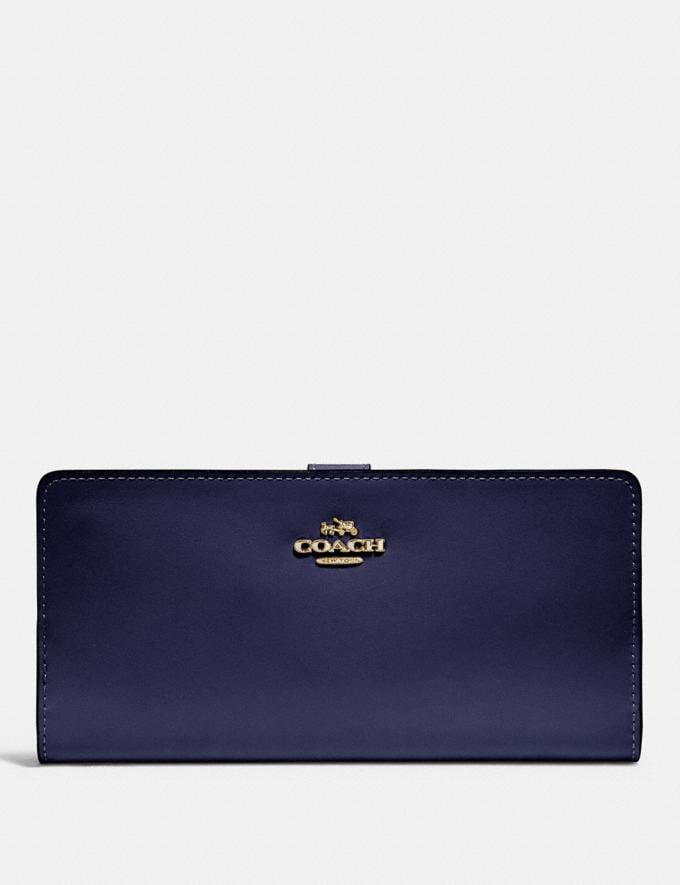 Coach Skinny Wallet Cadet/Gold SALE Women's Sale Wallets & Wristlets