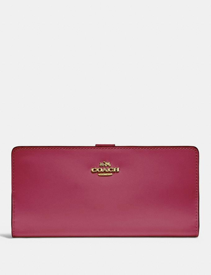 Coach Skinny Wallet Bright Cherry/Gold Customization For Her The Monogram Shop