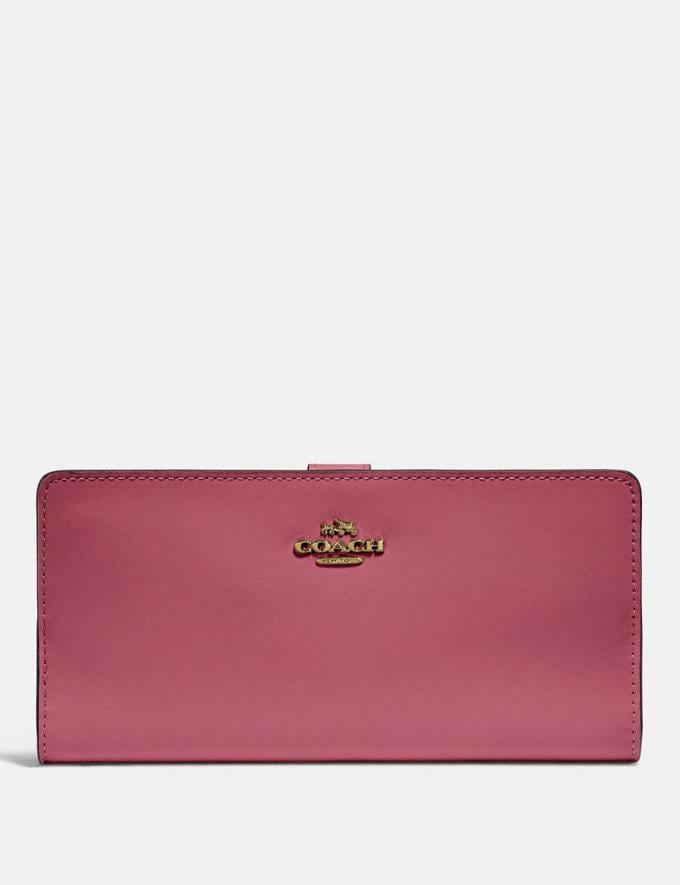 Coach Portefeuille Skinny Or/Rose PoudrÉ Femme Portefeuilles et wristlets Grands portefeuilles