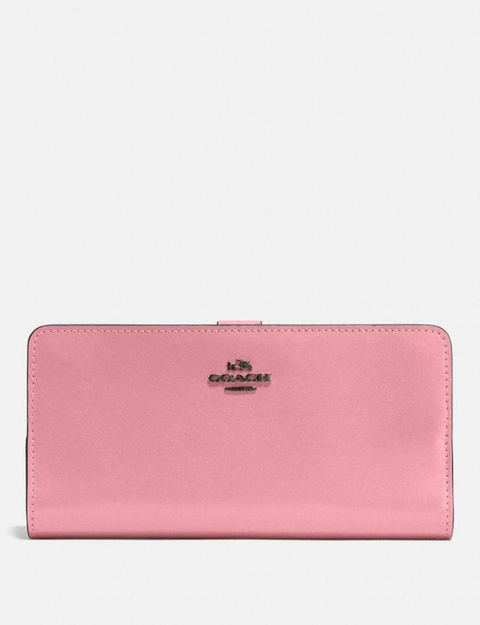 Coach Skinny Wallet Gunmetal/True Pink Customization For Her The Monogram Shop