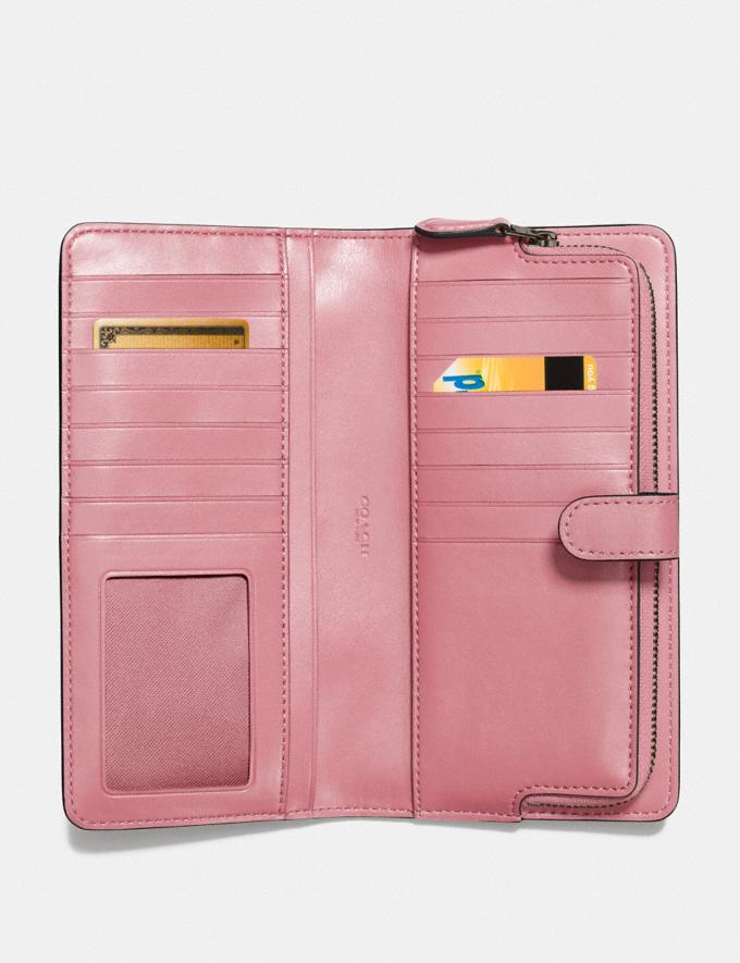 Coach Skinny Wallet Gunmetal/True Pink Customization For Her The Monogram Shop Alternate View 1