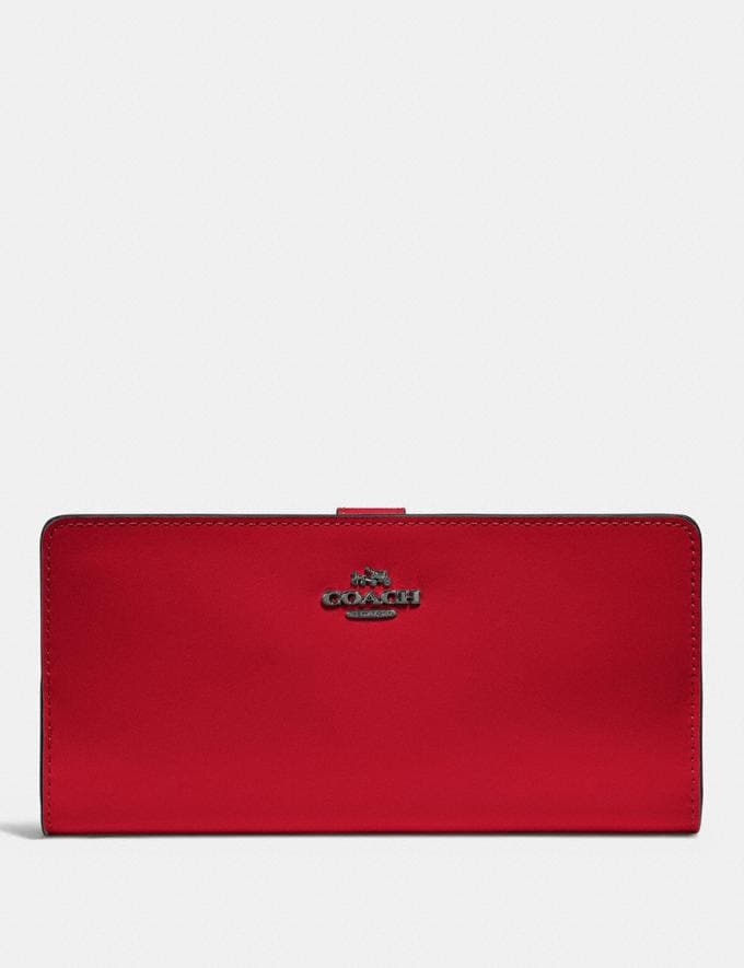Coach Skinny Wallet Gunmetal/Red Apple New Women's New Arrivals Wallets & Wristlets