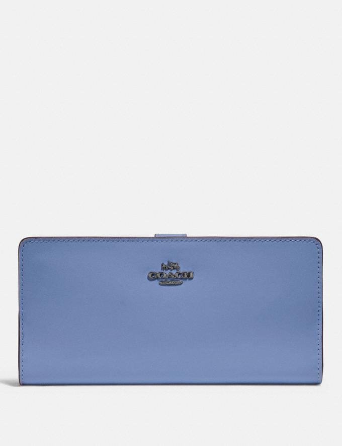 Coach Skinny Wallet Gunmetal/Stone Blue New Featured Women New Top Picks