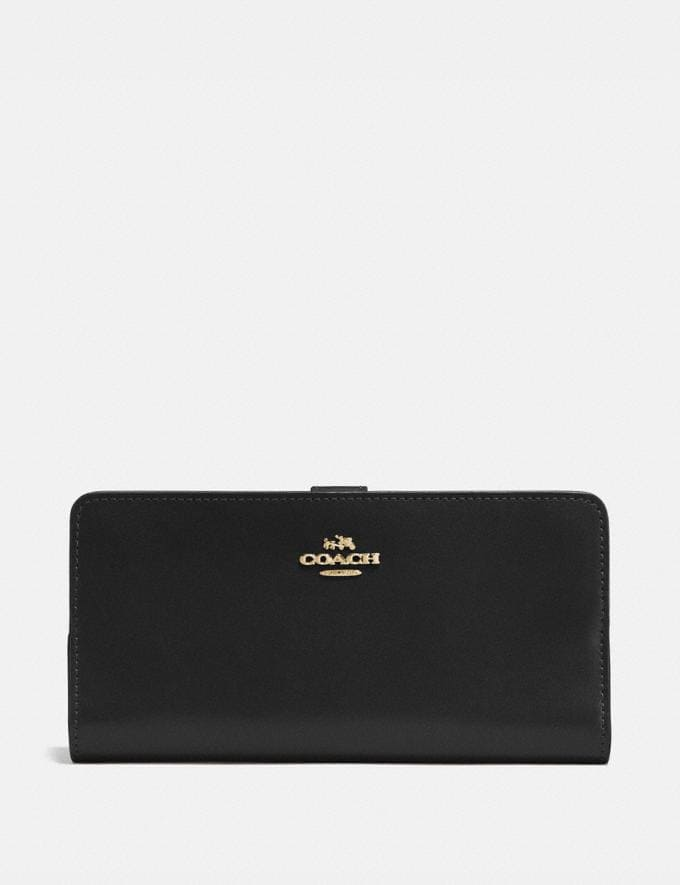 Coach Skinny Wallet Black/Light Gold New Women's New Arrivals Wallets & Wristlets