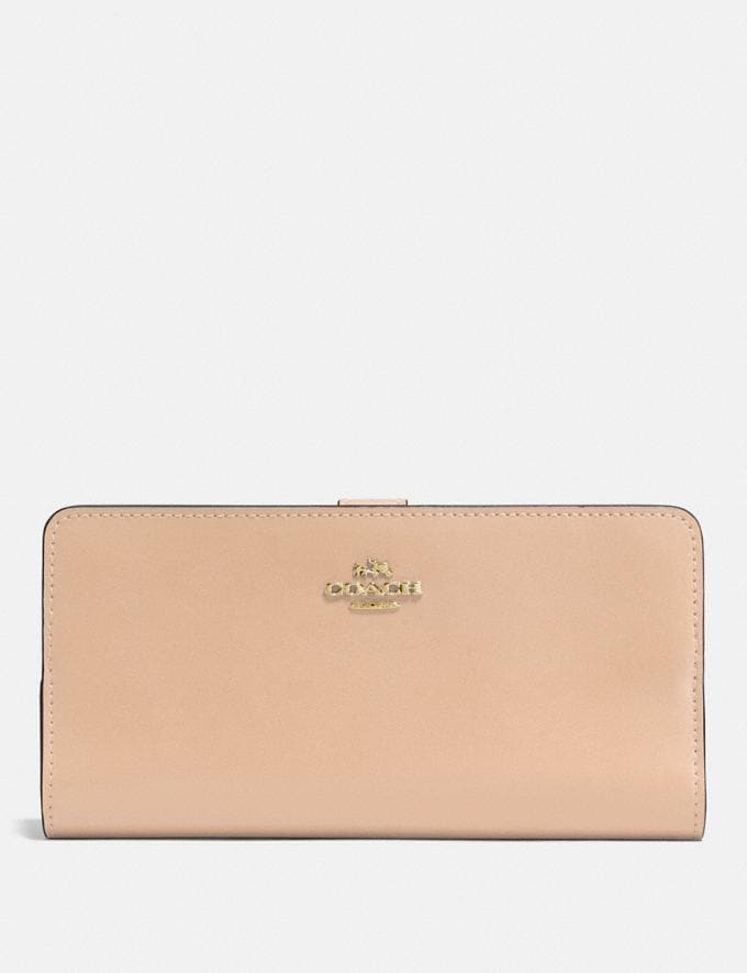 Coach Skinny Wallet Beechwood/Light Gold New Featured Women New Top Picks