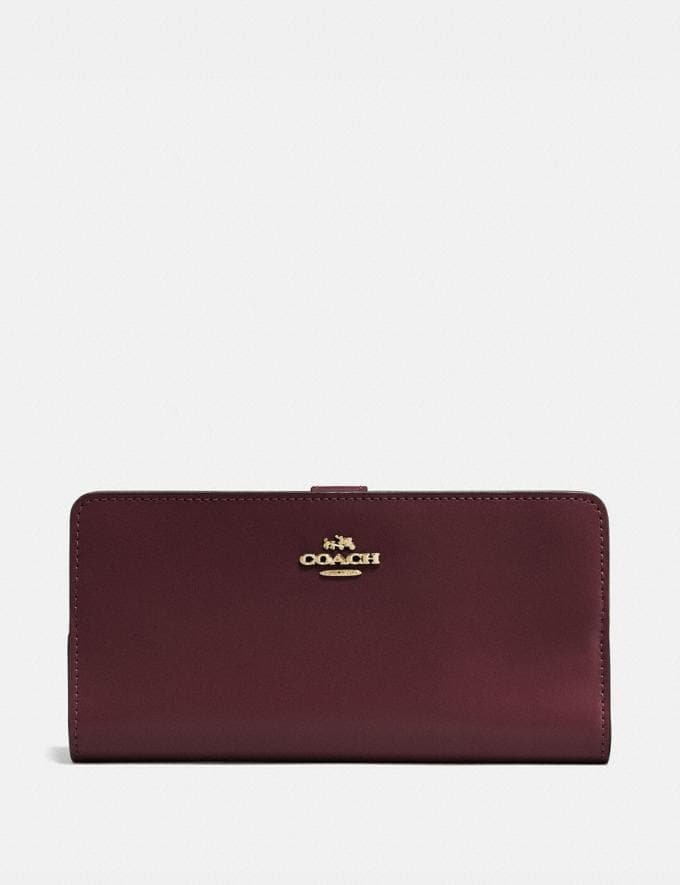 Coach Skinny Wallet Oxblood/Light Gold Gifts For Her