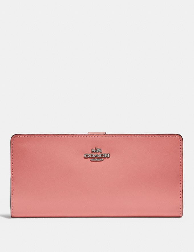 Coach Skinny Wallet Bright Coral/Silver Women Wallets Large Wallets
