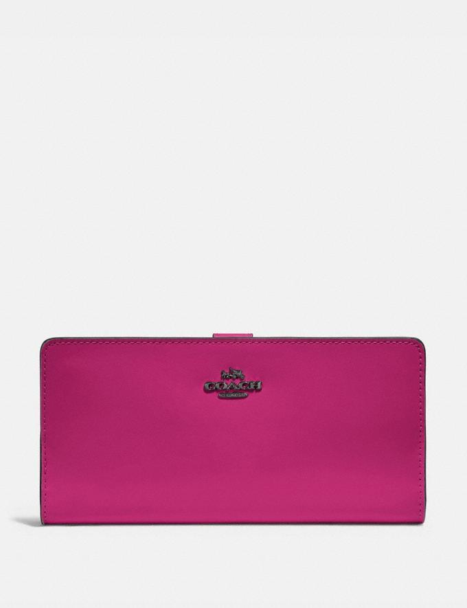 Coach Skinny Wallet Pewter/Cerise Women Wallets & Wristlets Large Wallets