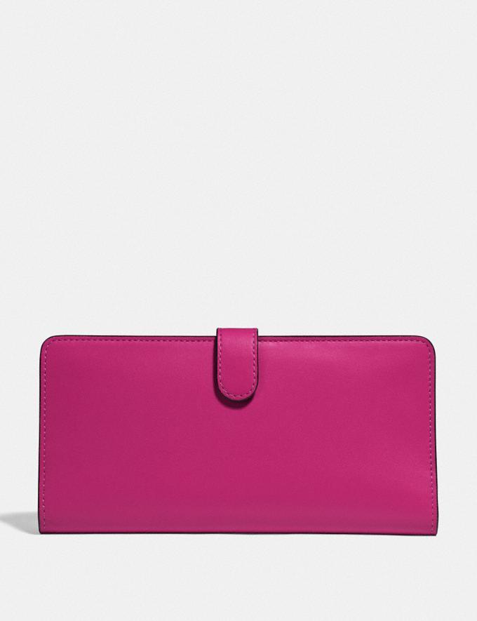Coach Skinny Wallet Pewter/Cerise Women Wallets & Wristlets Large Wallets Alternate View 1