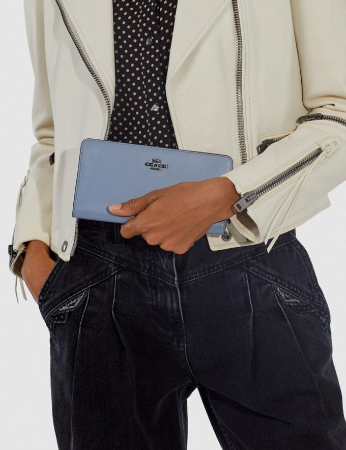 Coach Skinny Wallet Pewter/Bluebell Customization For Her The Monogram Shop