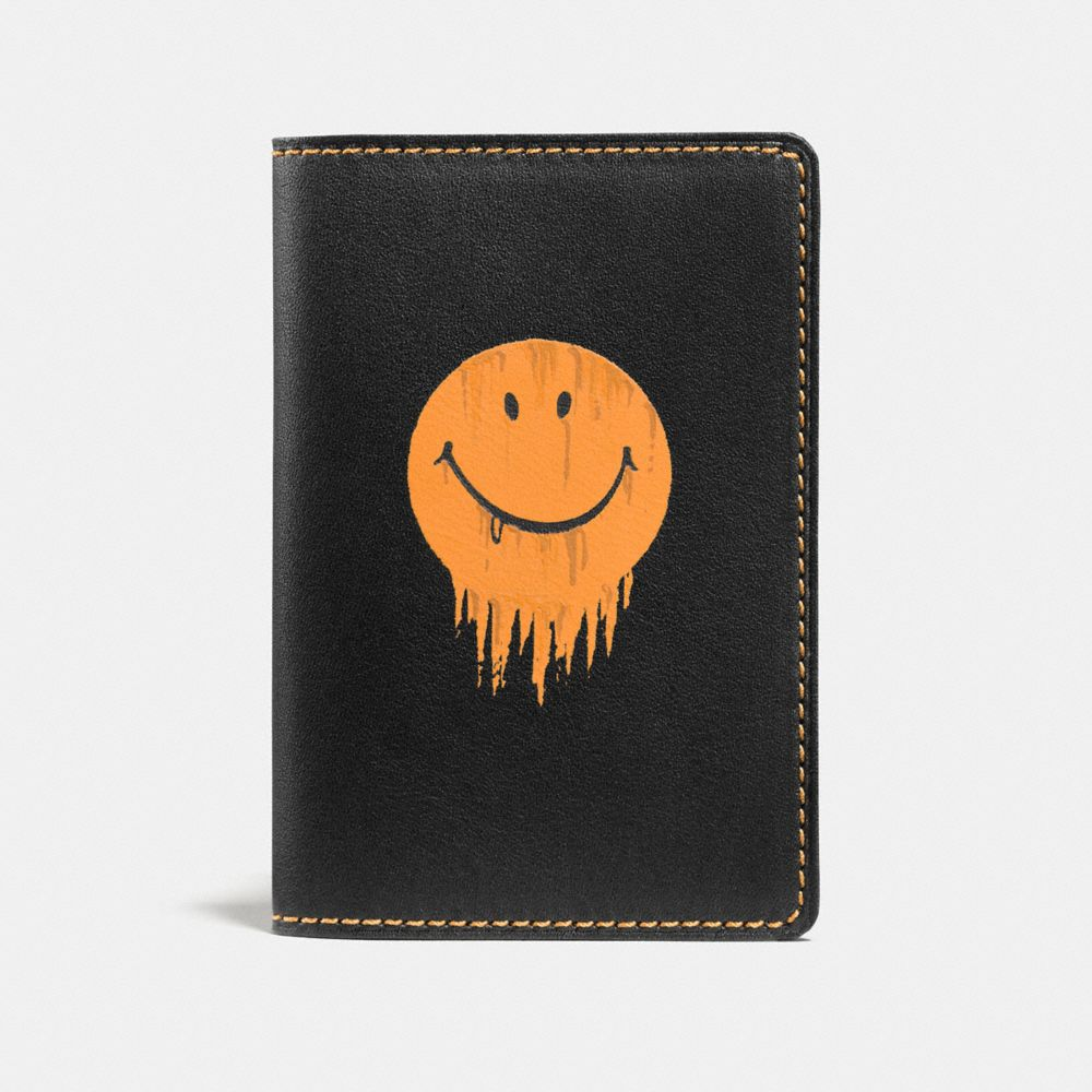 CARD WALLET IN GLOVETANNED LEATHER WITH GNARLY FACE PRINT