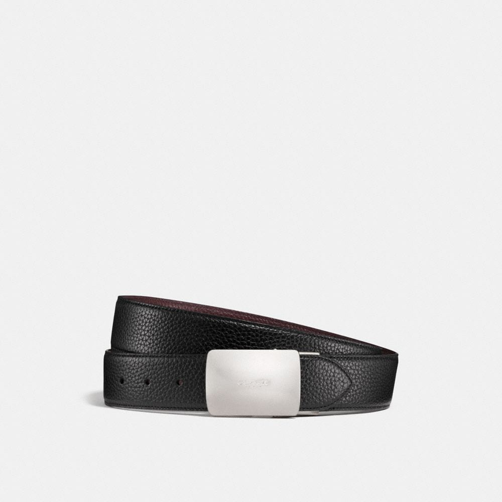 WIDE PLAQUE CUT-TO-SIZE REVERSIBLE PEBBLE LEATHER BELT