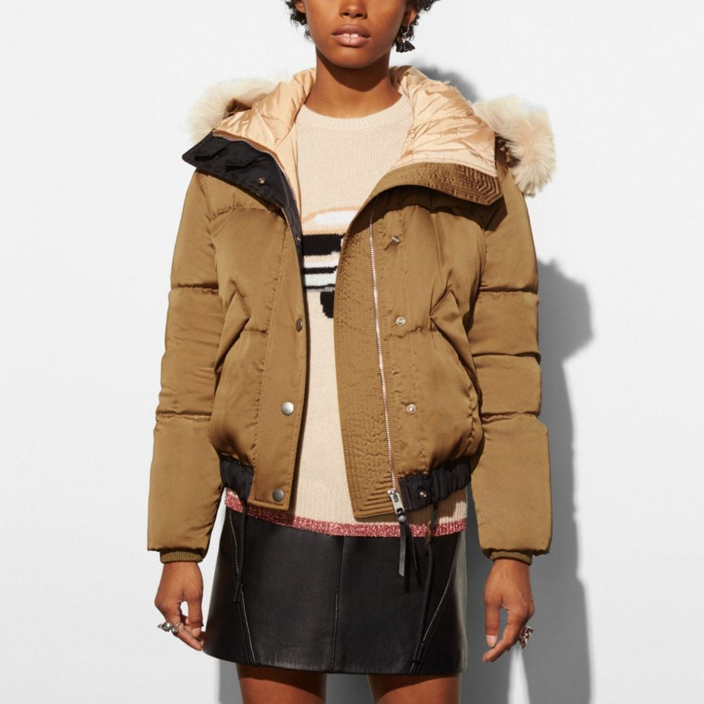 Icon Puffer Jacket With Shearling - Alternate View M1