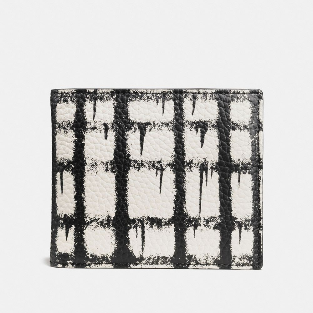 3-IN-1 WALLET IN PEBBLE LEATHER WITH WILD PLAID PRINT